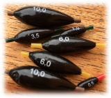 Bleiolive schwarz lackiert mit Silikonschlauch von 0,5 bis 10 Gramm